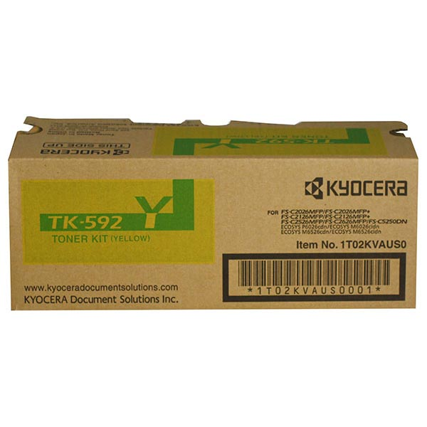 Kyocera Mita TK-592Y OEM Toner Cartridge, Yellow, 5K Yield
