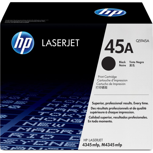 OEM toner for HP LaserJet 4345 mfp, M4345 mfp Series produces 18,000 pages.