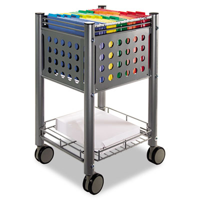 Steel and wire deskside file cart with bottom storage shelf.