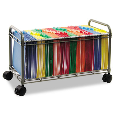 Steel and wire mobile file cart for letter size hanging files with four twin-wheel casters (two locking). Sized to roll under File Carts, sold separately.