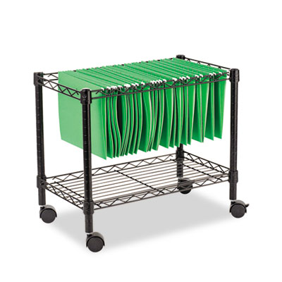 Black mobile file cart with one shelf and locking casters.