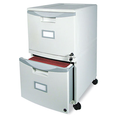 Two-drawer mobile file with hang rails for legal/letter filing.
