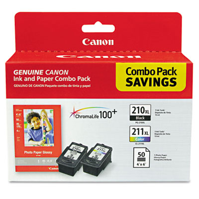 OEM ink and 4x 6 glossy paper for Canon® PIXMA MP260, MP490, MX320.