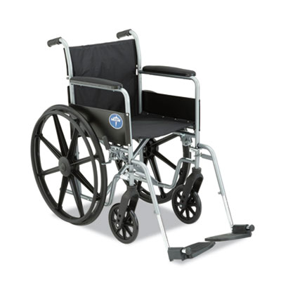 Wheelchair with nylon upholstery, smooth-rolling tires and swing-away, detachable footrests.