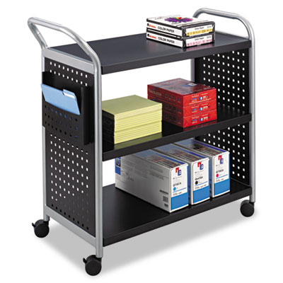 Three shelf steel utility cart with four casters, two locking.