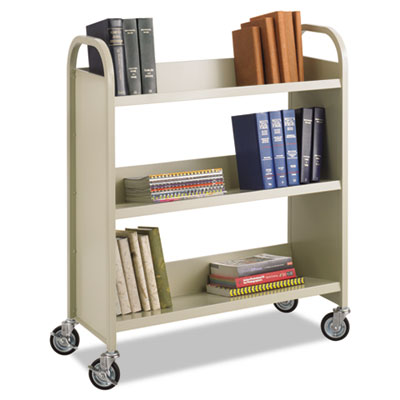 Steel slant shelf book cart with four swivel casters.