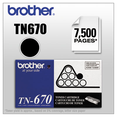 TN-670 OEM toner cartridge for Brother HL-6050, 6050DN produces 7,500 pages at 5% coverage.