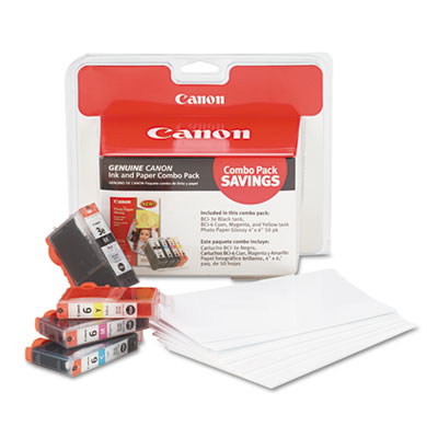 OEM ink tanks with 4 x 6 glossy photo paper for Canon® i560, i860, Pixma iP3000, iP4000, iP4000R, iP5000, MP750, MP760, MP780.