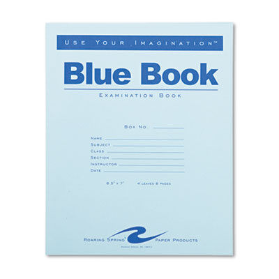 Examination book with flexible blue-stapled cover.