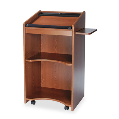 Laminate executive mobile lectern with pull-out presentation shelf and two open storage shelves.