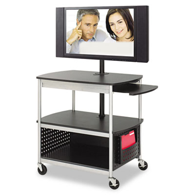 Flat panel multimedia cart with three shelves, doors, surge protector and removable file pocket.