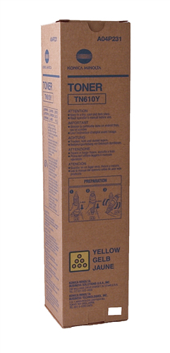 Konica Minolta A04P231 TN610Y OEM Toner Cartridge, Yellow, 26.5K Yield