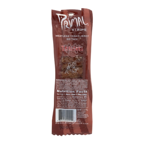 Primal Strips Vegan Jerky - Meatless - Seitan - Teriyaki - 1 oz - Case of 24