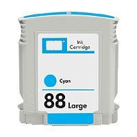 High Capacity Cyan Inkjet Cartridge compatible with the HP (HP88XL) C9386AN