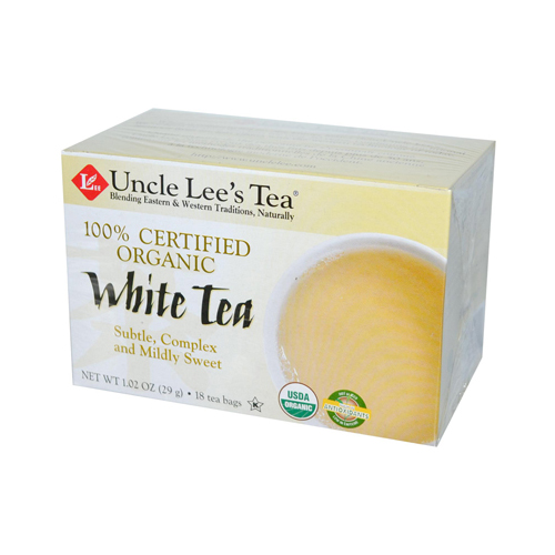 Uncle Lees Tea 100% Certified Organic White Tea - Case of 6 - 18 Bag