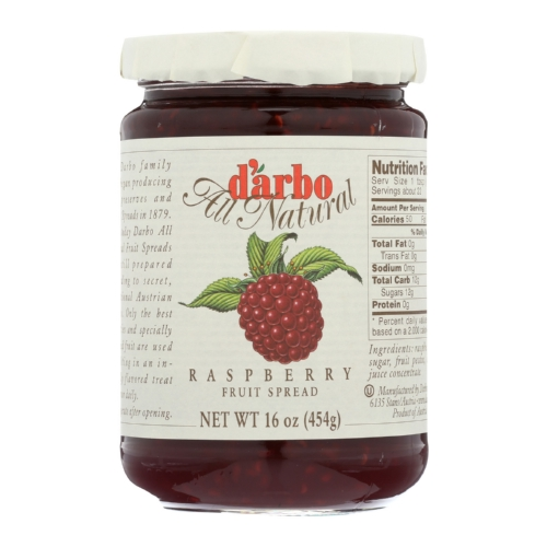 DArbo All Natural Fruit Spread - Raspberry - Case of 6 - 16 oz.