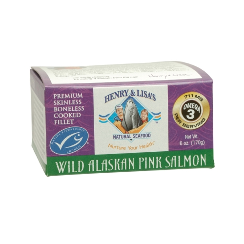 Henry and Lisas Natural Seafood Wild Alaskan Pink Salmon - Case of 12 - 6 oz.