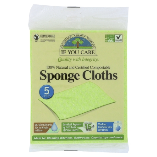If You Care Sponge Cloths - 100 Percent Natural - 5 Count - Case of 12