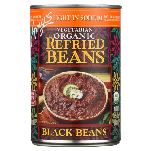 Amys Organic Light In Sodium Refried Black Beans - Case of 12 - 15.4 oz.
