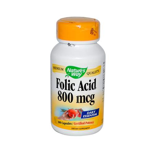 Natures Way Folic Acid - 800 mcg - 100 Capsules