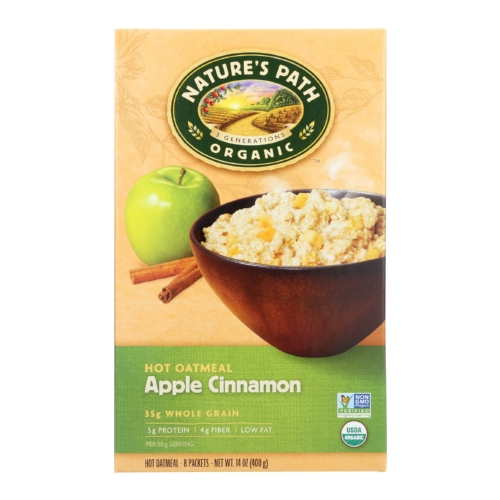 Natures Path Hot Oatmeal - Apple Cinnamon - Case of 6 - 14 oz.