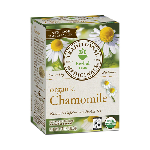 Traditional Medicinals Organic Chamomile Herbal Tea - Caffeine Free - Case of 6 - 16 Bags