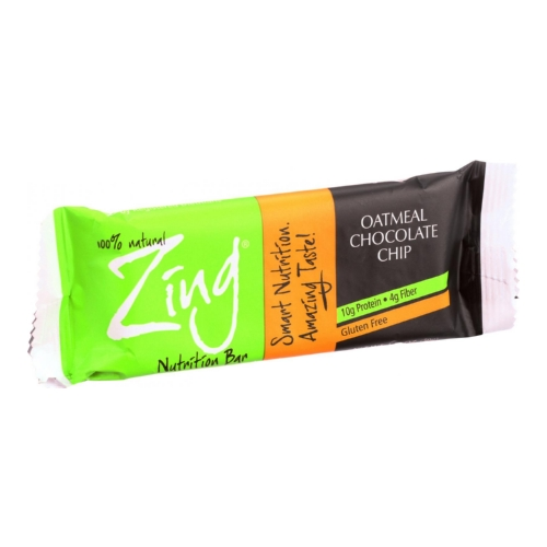 Zing Bars Nutrition Bar - Oatmeal Chocolate Chip - 1.76 oz Bars - Case of 12