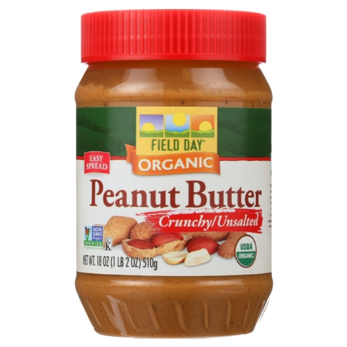 Field Day Peanut Butter - Organic - Crunchy - Unsalted - 18 oz - case of 12