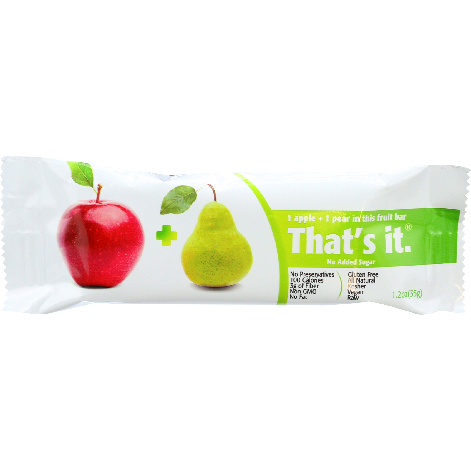 Thats It Fruit Bar - Apple and Pear - Case of 12 - 1.2 oz