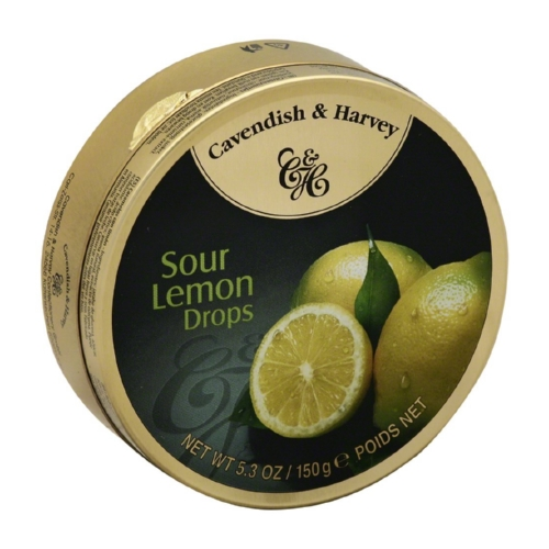 Cavendish and Harvey Fruit Drops Tin - Sour Lemon - 5.3 oz - Case of 12