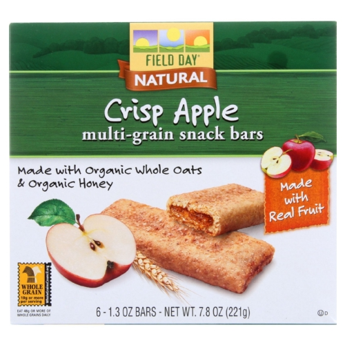 Field Day Snack Bars - Organic - Multi-Grain - Filled - Crisp Apple - 6/1.3 oz - case of 6