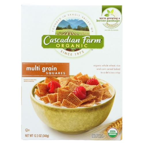 Cascadian Farm Cereal - Organic - Multi-Grain Squares - 12.3 oz - case of 10
