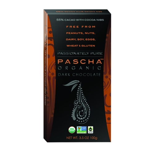 Pascha Organic Chocolate Bar - Dark Chocolate - 55 Percent Cacao - with Cocoa Nibs - 3.5 oz Bars - Case of 10