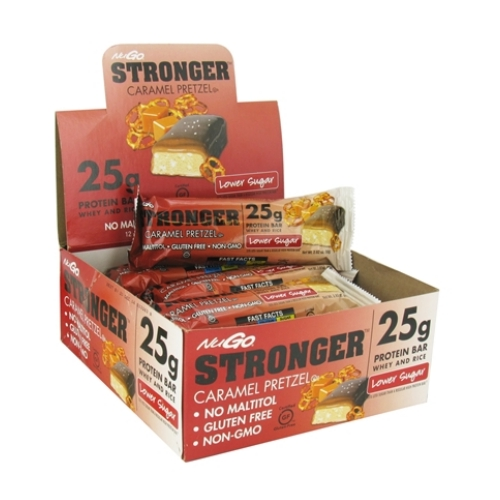 NuGO Nutrition Bar - Stronger Caramel Pretzel - 2.82 oz - Case of 12