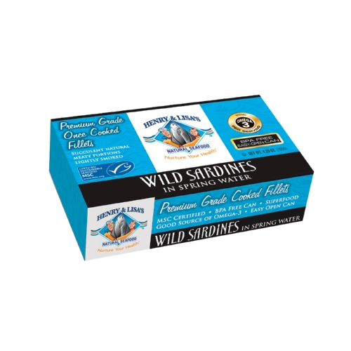 Henry and Lisas Natural Seafood Wild Sardines in Spring Water - Case of 12 - 4.25 oz.