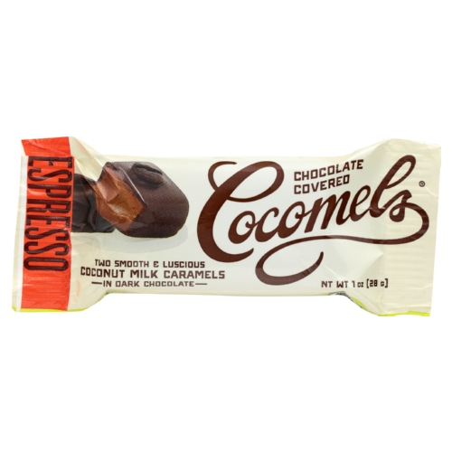 Cocomel Dark Chocolate Covered Cocomels - Espresso - Case of 15 - 1 oz.
