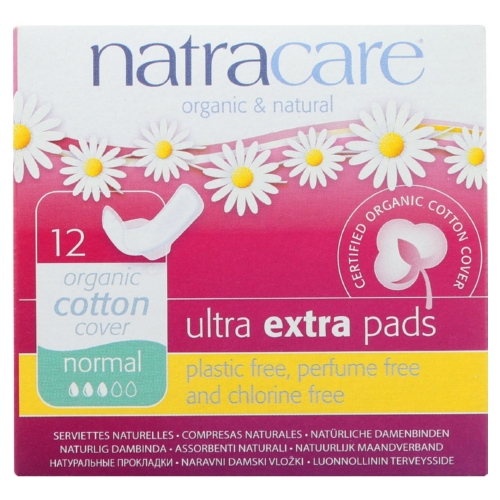 Natracare Ultra Extra Pads w/wings - Normal -  12 Count