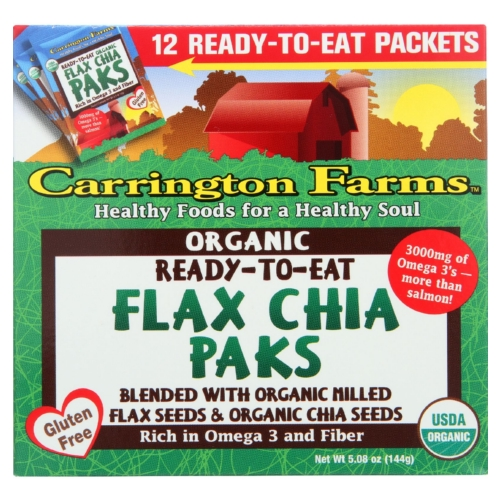 Carrington Farms Flax Paks - Organic - Ready to Eat - Chia - 12 count - case of 6