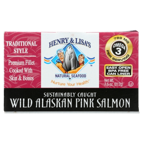 Henry and Lisas Natural Seafood Wild Alaskan Pink Salmon - Case of 12 - 7.5 oz.