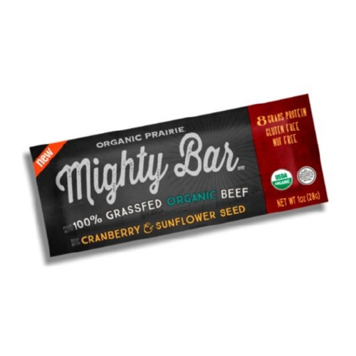 Organic Prairie Grass Fed Beef Mighty Bar - Cranberry and Sunflower Seeds - Case of 12 - 1oz Bars