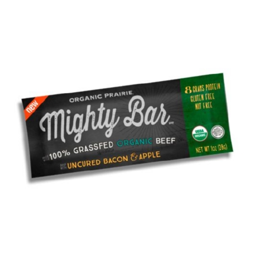 Organic Prairie Grass Fed Beef Mighty Bar - Bacon and Apple - Case of 12 - 1oz Bars