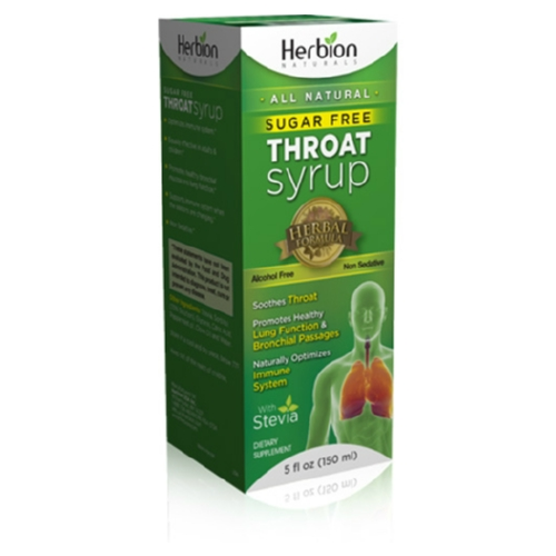 Herbion Naturals Throat Syrup - All Natural - Sugar Free - 5 oz