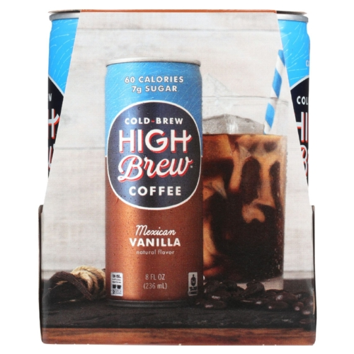 High Brew Coffee Coffee - Ready to Drink - Mexican Vanilla - 4/8 oz - case of 6