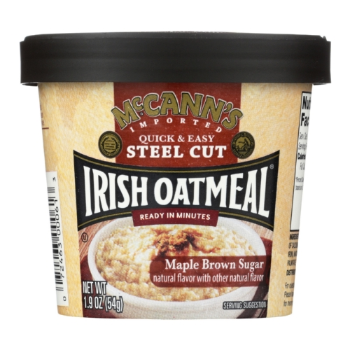 Mccanns Irish Oatmeal Instant Oatmeal Cup - Maple Brown Sugar - Case of 12 - 1.9 oz