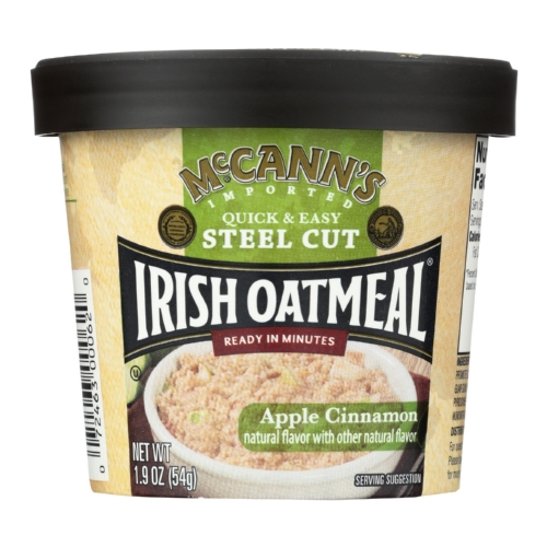 Mccanns Irish Oatmeal Instant Oatmeal Cup - Apple Cinnamon - Case of 12 - 1.9 oz
