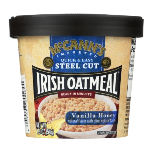 Mccanns Irish Oatmeal Instant Oatmeal Cup - Vanilla Honey - Case of 12 - 1.9 oz