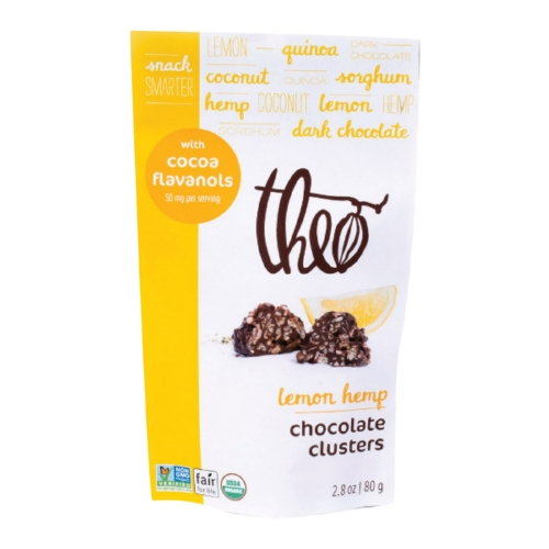 Theo Chocolate Clusters - Organic - Lemon Hemp - Case of 10 - 2.8 oz