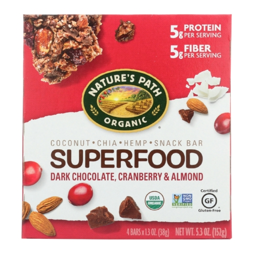 Natures Path Superfood Bar - Organic - Dark Chocolate Cranberry Almond - Case of 6 - 4/1.3 oz