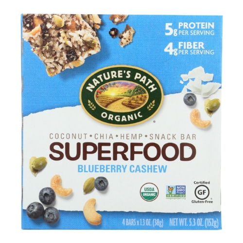 Natures Path Sprfd Bar - Organic - Blueberry - Cashew - Case of 6 - 4/1.3 oz