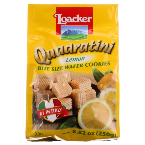 Loacker Wafer Cookie - Quadratini - Lemon Creme - 8.82 oz - case of 8